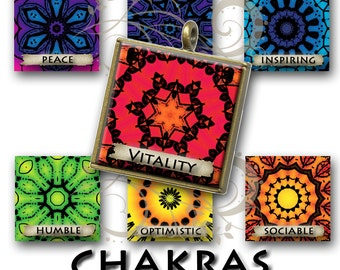 Chakras 1x1 Square with Affirmations,Printable Digital Image,Digital Collage,Mandala,Magnets,Gift Tags,Scrabble Tiles,Yoga, Meditation