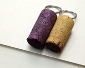 Yellow and Purple - Wine Cork Key chains - colored cork keychains