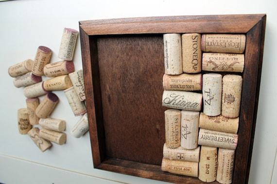 Wine Cork Trivet Kit - Reclaimed wood DIY craft kit -  dark brown - wine cork crafts