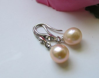 Lovely Smooth Peach Rice Fresh Water Pearl Dangle Silver Drop Earrings