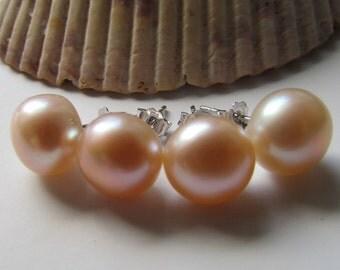 Set of 4- Pearl Earrings,Bridal Gift,Wedding Gift,Bridesmaid Gift,Fresh Water Pearl Sterling Silver Stud Earrings- Free shipping