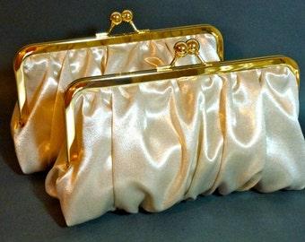 Bridal Clutch or Bridesmaid Clutch Platinum and Gold Gathered Taffeta