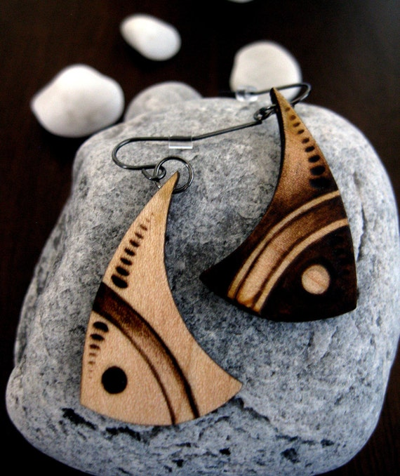 items similar to wooden earrings pisces zodiac sign