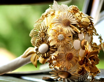 CUSTOM Wedding GOLD Vintage Brooch Bouquet - to fit your style, budget & colors, vintage bridal bouquet