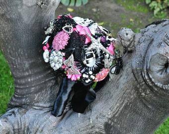 Custom Wedding brooch bouquet in pink, black & white