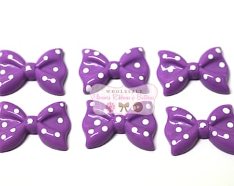 Lavender Polka Dot Bow Cabochon-  29 X 20 mm - Set of 6 - Wholesale Cabochons - Cute Embellishments