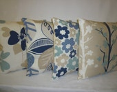 "5 x Pillows Blue Navy Beige Taupe Designer Cushion Covers Throw Accent Scatter Pillows 16"" (40cm)"