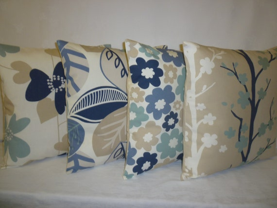 5 X Pillows Blue Navy Beige Taupe Designer Cushion Covers