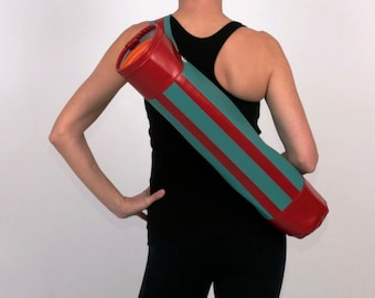 Closeout Sale- Swank Retro Yoga Mat Bag in Turquoise and Red