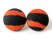 SALE Animal print button earrings - tiger stud earrings - wild cat fabric earrings black tangerine orange