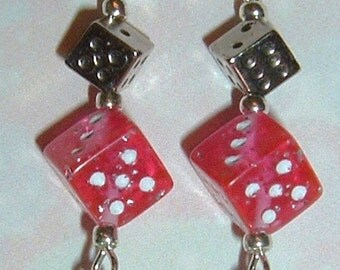 Dice and Hearts Earrings - Pink Glitter Dice with Puffy Hearts - Great for Bunco / Bunko Party and Poker / Casino Night!  Gamers!
