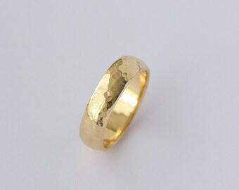 Goldring breit herren  Männer zerkratzt ring | Etsy