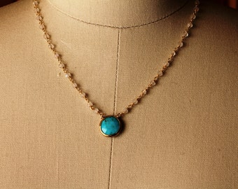 Turquoise and Moonstone Gold Necklace