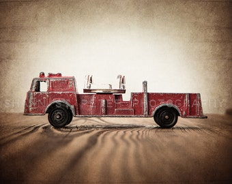Vintage Toy Firetruck on Barn wood Photo Print, Rustic Decor, Boys Nursery, Red themed, Fireman room