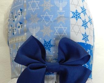 Chanukkah Hanukkah Dreidel Star of David Menorah Dreidel Theme Harness with Bow & Lace. Custom made for your Cat, Dog or Ferret.