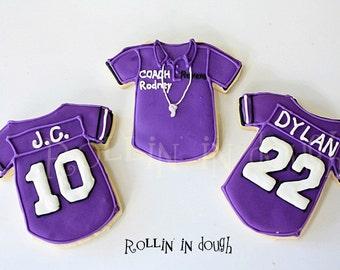 Football Cookies, Football Jersey Cookies, Football Jerseys - 1 Dozen