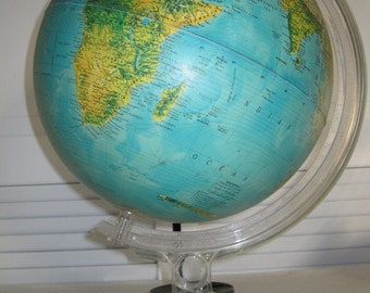 vintage Rand McNally Physical - Political Globe on stand