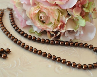 Chocolate Pearl and Antiqued Copper Necklace and Earring Set - Variable lengths - Bridal Jewelry