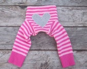 Pink Striped Heart  Wool Longie Pant 6-12 Months