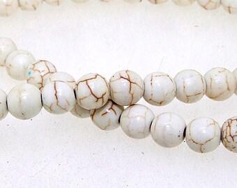 Charm 8MM Round White Howlite Turquoise Gemstone Beads One Strand