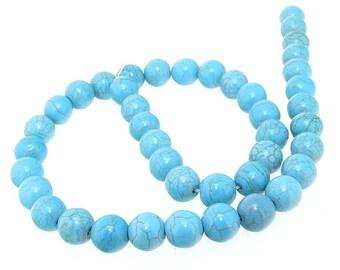 Charm 10MM Round Howlite Turquoise Gemstone Beads One Strand
