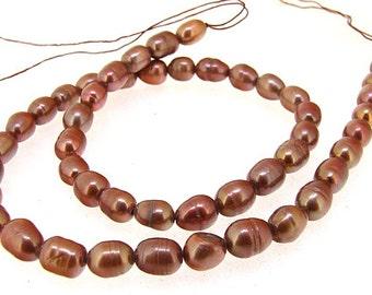 "Rice Freshwater pearl Cultured Pearl Coffee Pearl 5mm-6mm Gemstone Beads Full Strand 14.5"""