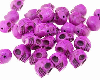 Loose Beads Carved Purple Turquoise Skull Turquoise Gemstone  12mmx13mm  30Beads