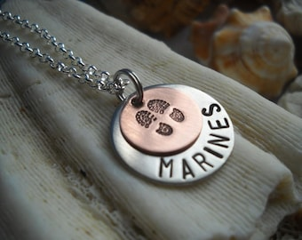 Marines Army Navy Air Force Combat Boots Military Armed Forces FATHERS DAY Necklace Hammered Family Uniquely Impressed
