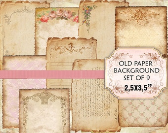 Old paper Vintage Backgrounds Shabby chic paper Scrapbook Decoupage 2,5x3,5 inches (365)