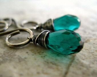 Green Earrings Sterling Silver Jewelry Crystal Wire Wrapped Earrings