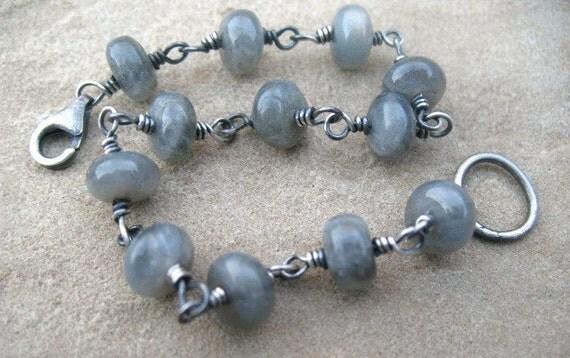 Labradorite Bracelet Sterling Silver Wire Wrapped Jewelry Gray