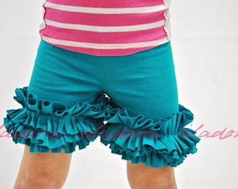 Girls Ruffle Shorts in Deep Teal