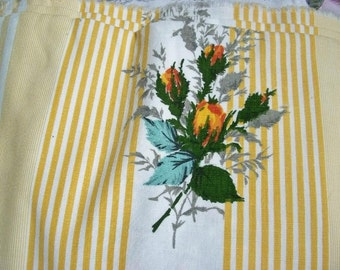 Beautiful Piece of Vintage French 1920s Rose Ticking material Panel of yellow Roses Fabric
