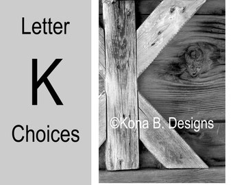 Letter K  -  Alphabet Photography  -  4x6 Photo Letter -  Unframed - Black and White or Sepia