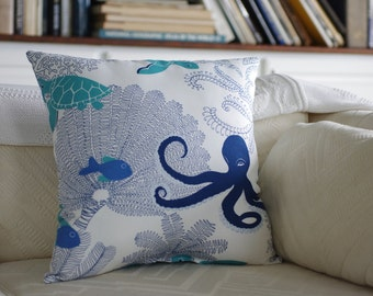 Ocean Song Throw Pillow  -  Octopus, Sea Turtles, Fish and Sea Fans