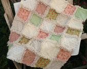 Shabby Baby Girl Rag Quilt -Cottage Chic Peach and Apple Green Roses and Dots