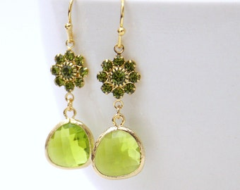 Love Always. Olivine Green Swarovski Crystal Flower Stone Drop Earrings Gold