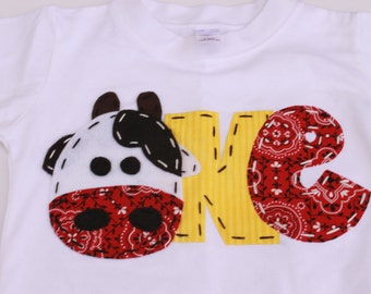 birthday shirt, one, cow, 1st,  t shirt, barnyard, farm theme, boy white