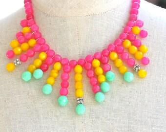 Mint Green Alabaster Bright Yellow and Pink Opal Czech Glass Bead Statement Necklace - Bib - Boho,Bridal,OOAK