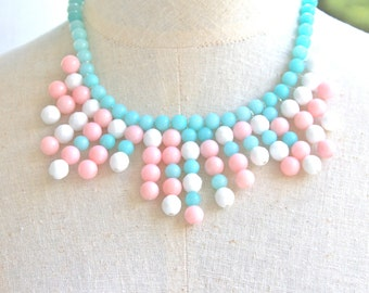 Pink Blue White Statement Necklace -  Glass Bead Faceted Jade Bead Necklace - Boho,Wedding, Beach,Bridal, OOAK, One of a kIND
