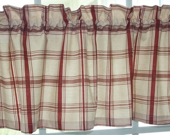 Great Valance Waverly Red And Beige Pantry Plaid Country Style New.