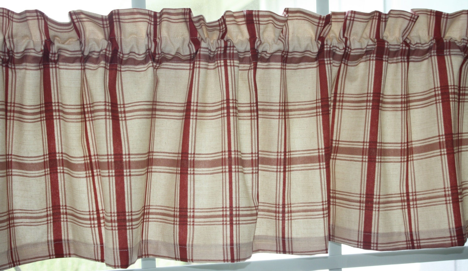 Valance Waverly Red And Beige Pantry Plaid Country Style