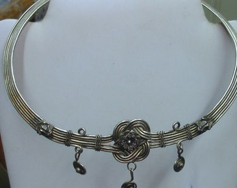 Vintage Hand Made Chinese Minority Miao Silver Adjustable Choker Necklace