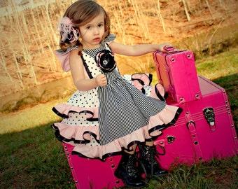 Girls Dress, Girls Easter Dress, Girls Pageant Dress, Girls Party Dress, Special Occasion Dress, Girls Ruffle Dress, Pink Black White Dress