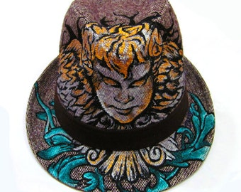 Angel Tattoo inspired Handpainted Wool Fedora One of a Kind