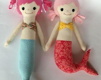 Mermaid, soft doll, PDF Sewing Pattern Direct Download - 'Mali & Mindi'