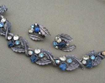 Jewelry sets, chunky, blue rhinestone, bracelet with earrings, vintage jewelry sets, costume jewelry,