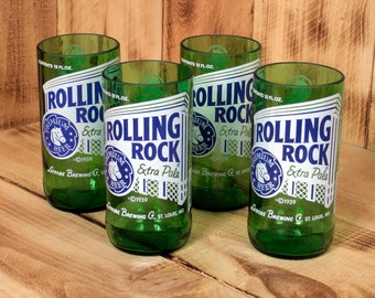 Four Pack Rolling Rock 8oz Juice Glasses made from upcycled beer bottles