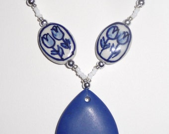 Blue Stone Necklace - Blue Tulips Necklace - Blue and White - Ceramic Beads - Blue Flower (sale/originally 19.99)