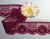 Maroon Lace Trim 10/20 Yards Vintage Floral 1-3/8 inch R149 Added Items Ship No Charge
